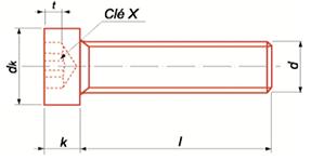 Vis à métaux tête cylindrique 8.8 brut tête basse 6 lobbes internes NFE-25111