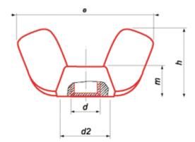 Ecrous à oreilles - Forme américaine Inox A2