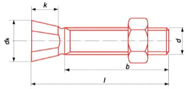 TC2M - Tête conique 2 méplats 12.9 brut